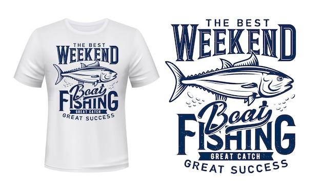 T-shirt z nadrukiem, klub połowów tuńczyka, duży połów ryb