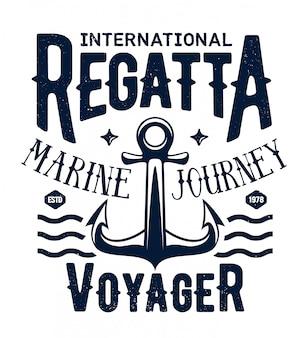 T-shirt z nadrukiem kotwicy statku, rejs regatami morskimi