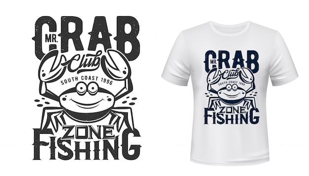 T-shirt z nadrukiem krabów przedstawiający wędkarski klub sportowy