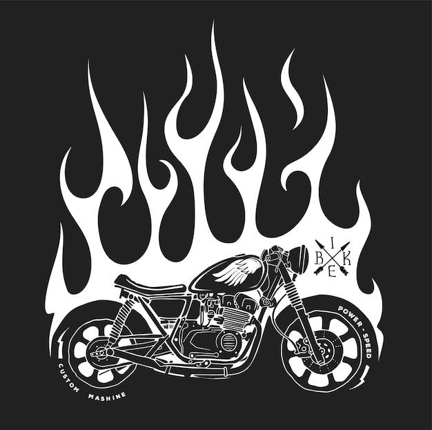 T-shirt z nadrukiem motocykla i ognia.