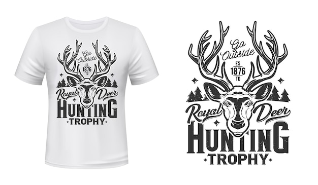 T-shirt z nadrukiem na polowanie na jelenie, emblemat klubu trofeów polowania. dziki las królewski jelenie lub renifer kaganiec głowy, polowanie na sezon otwarty i odznaka maskotka zwierząt hunter club na nadruk na koszulce
