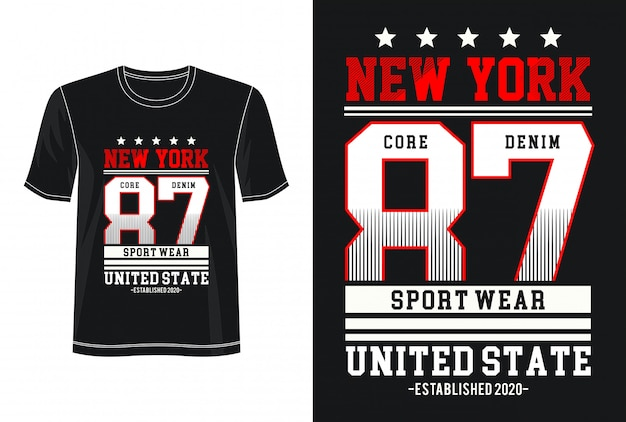 T-shirt z nadrukiem new york 87