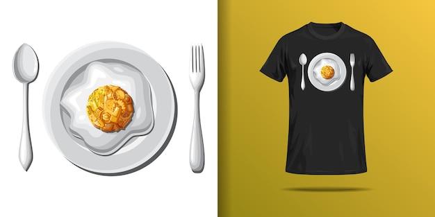 T shirt z nadrukiem przedstawiającym talerz jajek