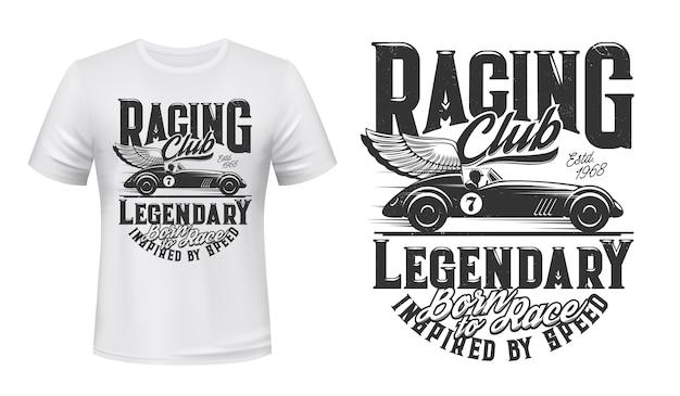 T-shirt z nadrukiem w stylu vintage samochodów wyścigowych