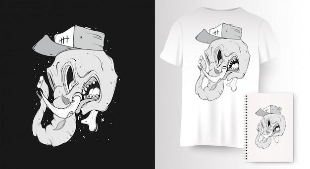 T-shirt z nadrukiem z czaszką słonia.