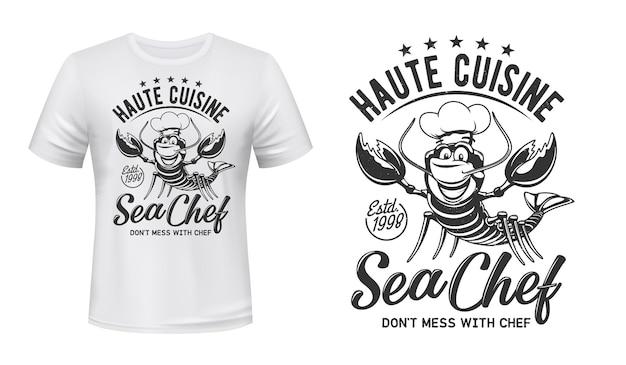 T-shirt z nadrukiem z homarem i krabem, restauracja szefa kuchni. homar w toczku z wąsami i gwiazdkami premium.