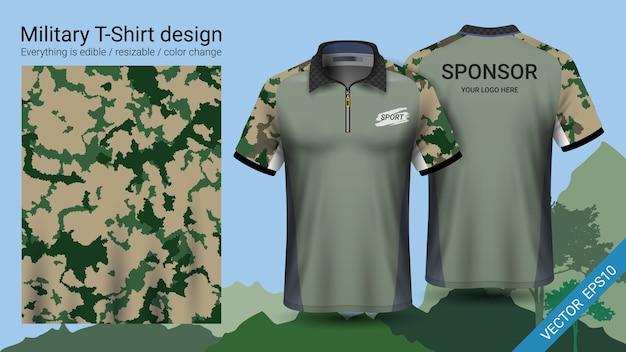 T-shirt z polo wojskowym