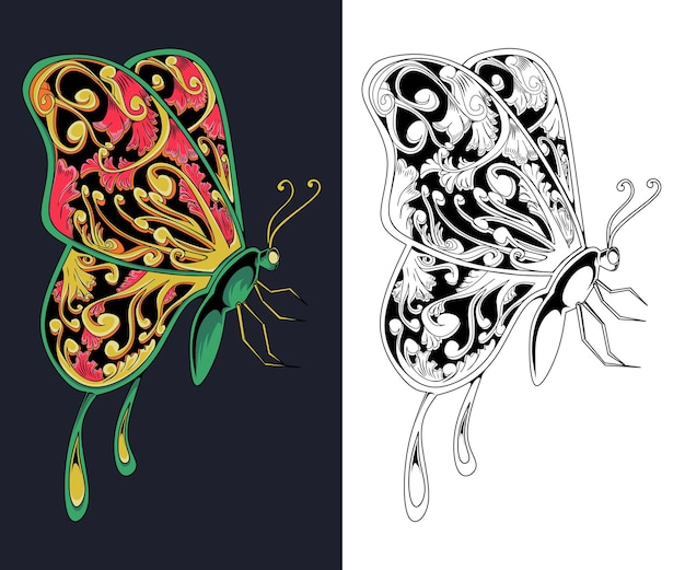 T-shirt z rzeźbionymi skrzydłami motyla i wzory tatuaży