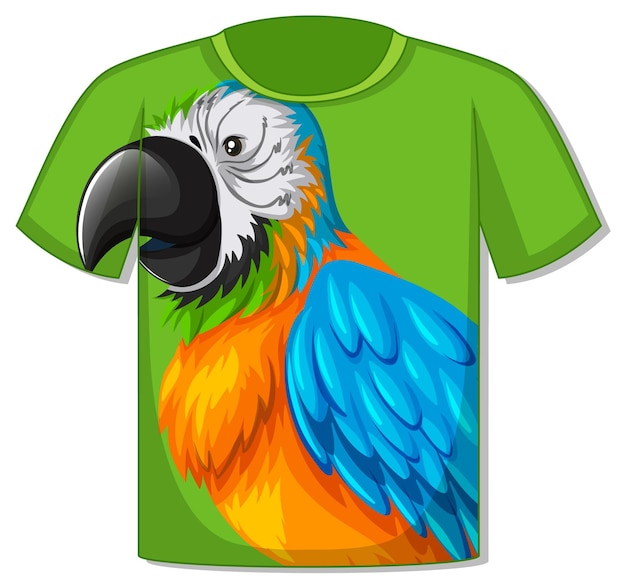 T-shirt z wzorem papugi