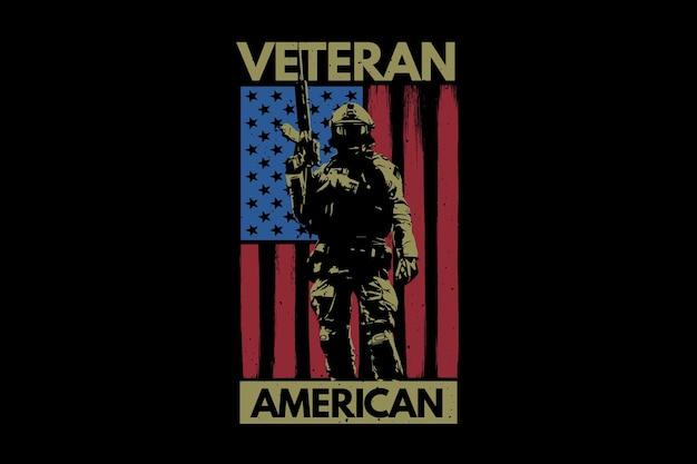T-shirt żołnierz weteran flagi amerykańskiej typografii vintage ilustracji