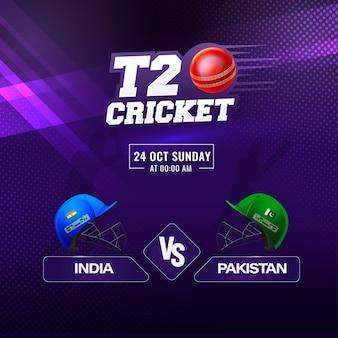 T20 cricket match show uczestniczących zespołów indie vs pakistan na streszczenie fioletowym tle.
