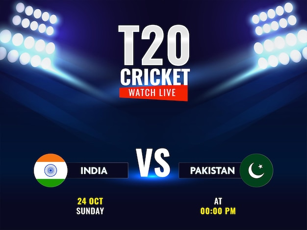 T20 cricket oglądaj na żywo pokaz uczestniczących drużyn indie vs pakistan na niebieskim tle świateł stadionu.