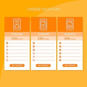 Tabela cen stron internetowych i aplikacji