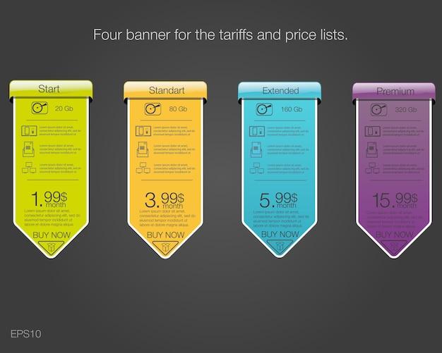 Tabela cen w stylu projektowania taryf dla przechowywania w chmurze witryn internetowych