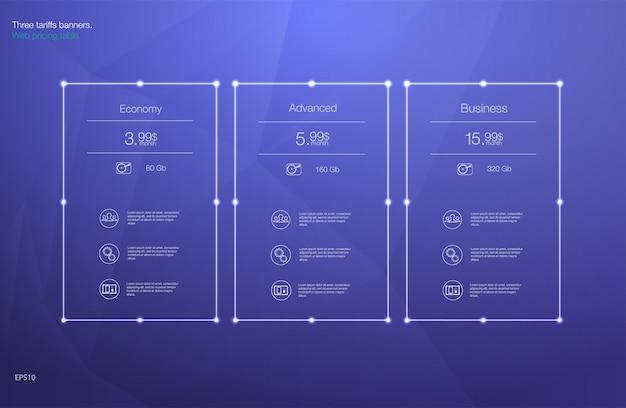 Tabela cen za hosting, taryf i cenników. elementy sieciowe.