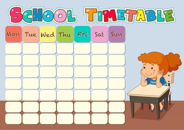 Tabela czasu szkoły ze studentem