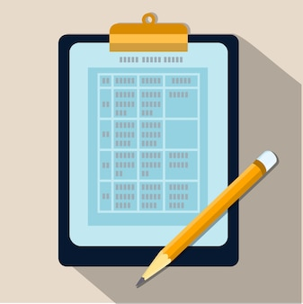 Tabela danych na schowek i ołówek-płaska konstrukcja wektor
