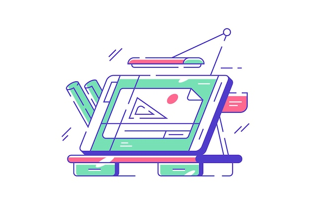 Tabela inżynierska do rysowania ilustracji. nowoczesne biurko do pracy architekta z płaskim stylem odbitek niebieskich. lampa i ekran. koncepcja architektury. odosobniony