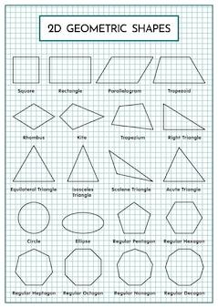 Tabela Kształtów Geometrycznych 2d Premium Wektorów