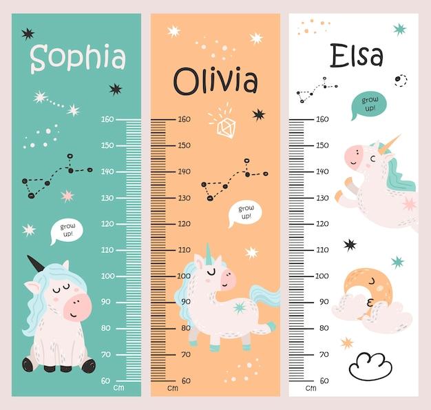 Tabela wzrostu dzieci z jednorożcami
