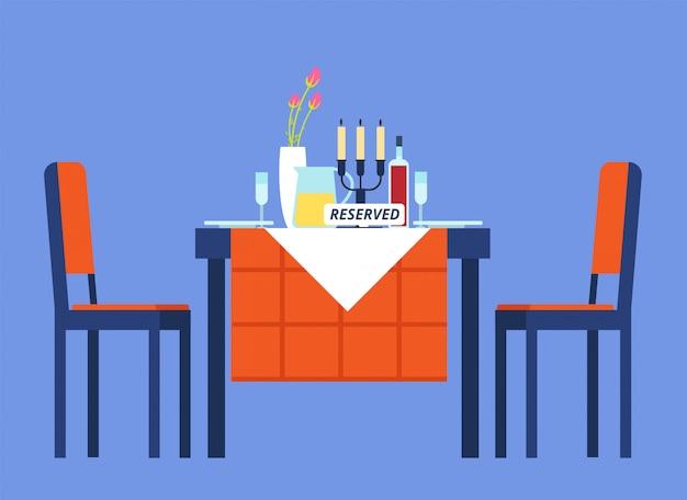 Tabela zarezerwowana. stół restauracyjny z obrusem, kieliszkami do wina, zastawą stołową dwa krzesła na romantyczną kolację. ilustracja kreskówka wektor