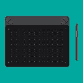 Tablet graficzny. karta i długopis.