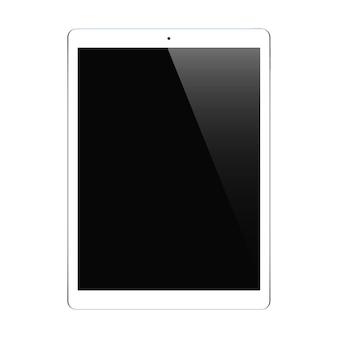 Tablet kolor biały z czarnym ekranem dotykowym na białym tle