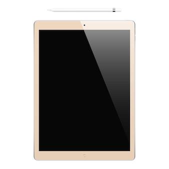 Tablet kolor złoty z czarnym ekranem dotykowym i ołówkiem na białym tle