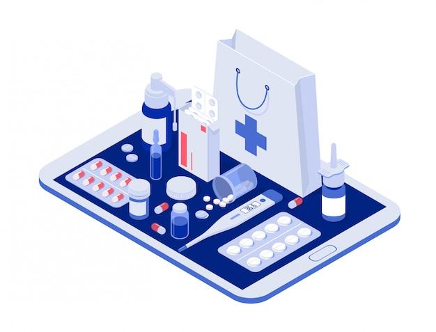 Tablet online z tabletkami, blistrami kapsułek, szklanymi butelkami, plastikowymi tubkami