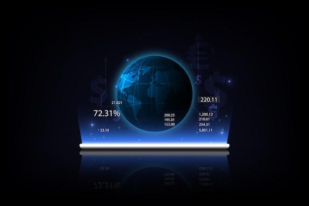 Tablet pokazujący rosnący wirtualny hologram statystyk