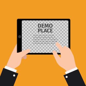 Tablet w dłoni z przezroczystym ekranem