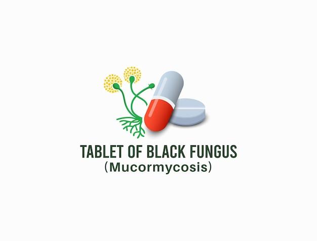 Tablet z czarnym wzorem grzyba