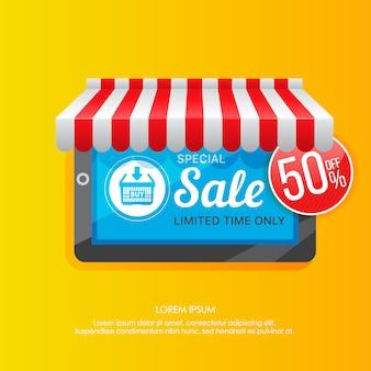 Tablet z promocją sprzedaży na ekranie
