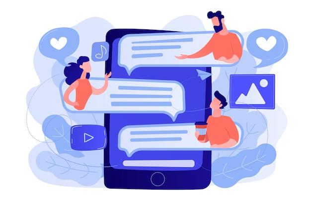 Tablet z użytkownikami komunikującymi się i dymkami. globalna komunikacja internetowa, media społecznościowe i technologia sieciowa, czat, wiadomość i koncepcja forum. ilustracja wektorowa na białym tle.