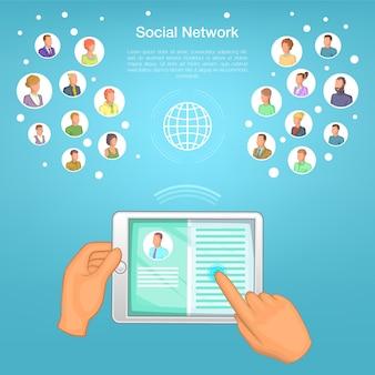 Tabletka koncepcja sieci społecznej, stylu cartoon