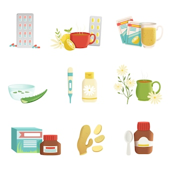 Tabletki, herbata z cytryną i ziołami, termometr, imbir, witaminy, aloes, syrop.