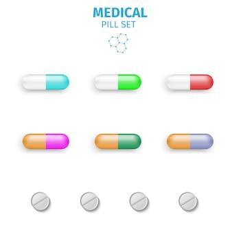 Tabletki i pigułki wektor zestaw ilustracji wektorowych na białym tle.