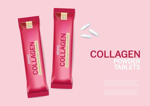 Tabletki kolagenowe wektor realistyczne makiety. projekty etykiet na opakowania produktów