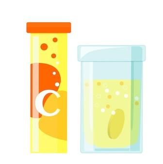 Tabletki musujące rozpuszczalne z witaminą c, cylindryczne plastikowe opakowanie i szklana szklanka z tabletką i płynem. wektor