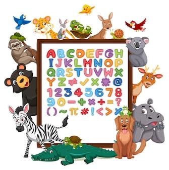 Tablica az alphabet z dzikimi zwierzętami