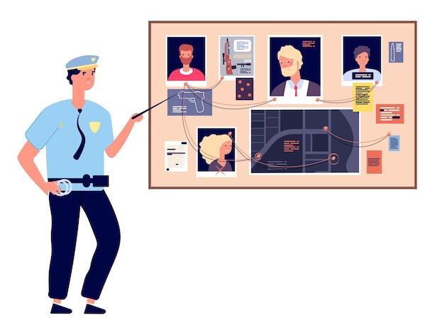 Tablica detektywów. plan dochodzenia w sprawie zbrodni ze zdjęciami morderstwa, gazetami i notatkami, policjant na mapie programu, koncepcja wektorowa. detektyw policyjne dochodzenie, ilustracja planu zdjęcia tablicy