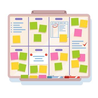 Tablica do planowania z różnymi zadaniami, napisana na kolorowych papierach