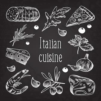 Tablica doodle szkic kuchni włoskiej