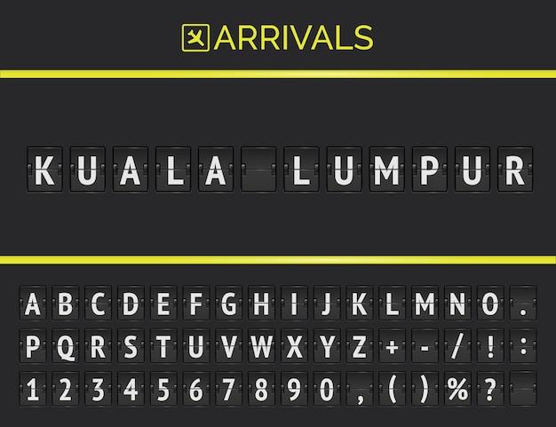 Tablica informacyjna lotu z miejscem docelowym w malezji: kuala lumpur wpisana mechaniczną czcionką tablicy wyników na lotnisku