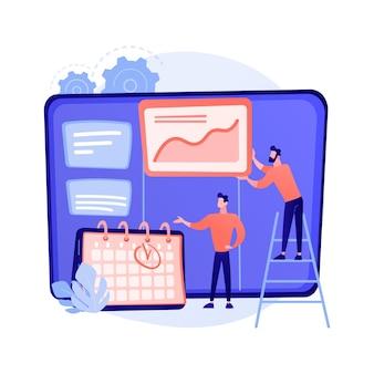Tablica kanban z listami rzeczy do zrobienia. sposób zarządzania zadaniami i czasem. proces projektowy, optymalizacja przepływu pracy, organizacja. ilustracja koncepcja wydajności wydajności kpi
