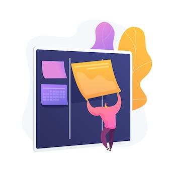 Tablica kanban z listami rzeczy do zrobienia. sposób zarządzania zadaniami i czasem. proces projektowy, optymalizacja przepływu pracy, organizacja. wydajność wydajności kpi.