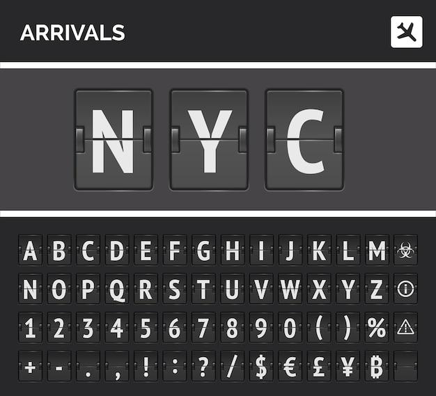 Tablica lotów odwróć koncepcję czcionki wektor z liczbami i symbolami