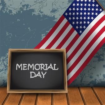 Tablica memorial day z flagą narodową usa