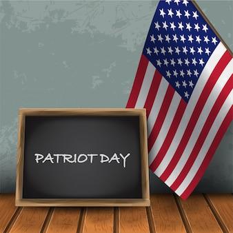 Tablica patriot day z flagą narodową usa na tle niebieskiej ściany z ilustracji wektorowych drewniane flor.