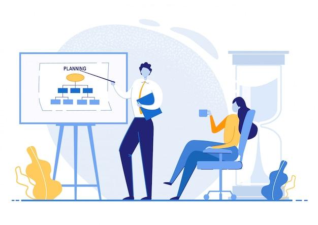 Tablica plakatowa do planowania prezentacji. mężczyzna pokazuje wskaźnik do wykresu, kobieta słucha siedząc w biurze